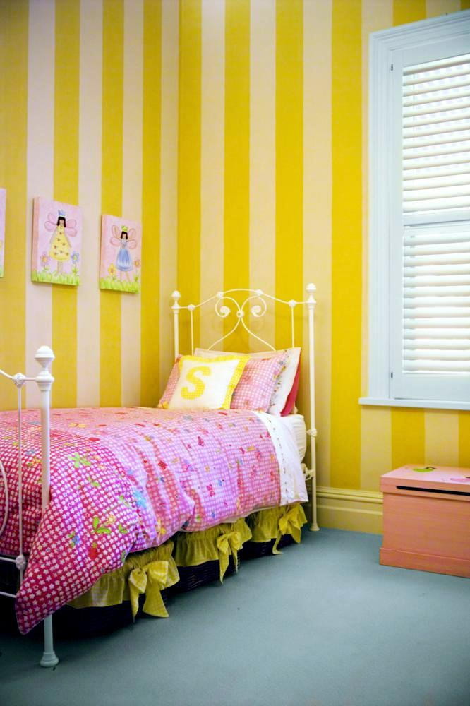 Lemon Yellow Striped Wallpaper Interior Design Ideas
