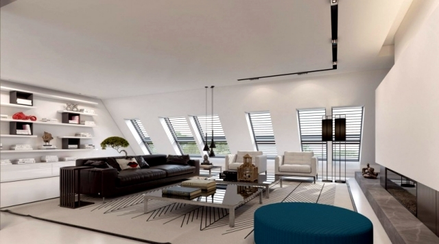 3d visualized attic studio in d sseldorf by ando. Black Bedroom Furniture Sets. Home Design Ideas