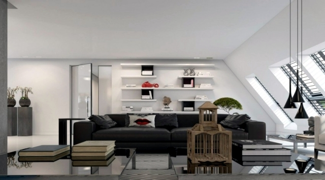 3d visualized attic studio in Düsseldorf by Ando