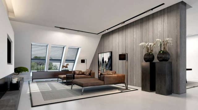 3d visualized attic studio in Düsseldorf by Ando