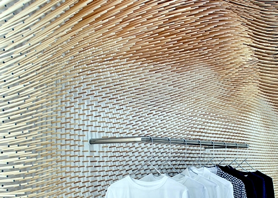 The interior design store MRQT - decorative wall with wooden sticks in the Republic of Korea