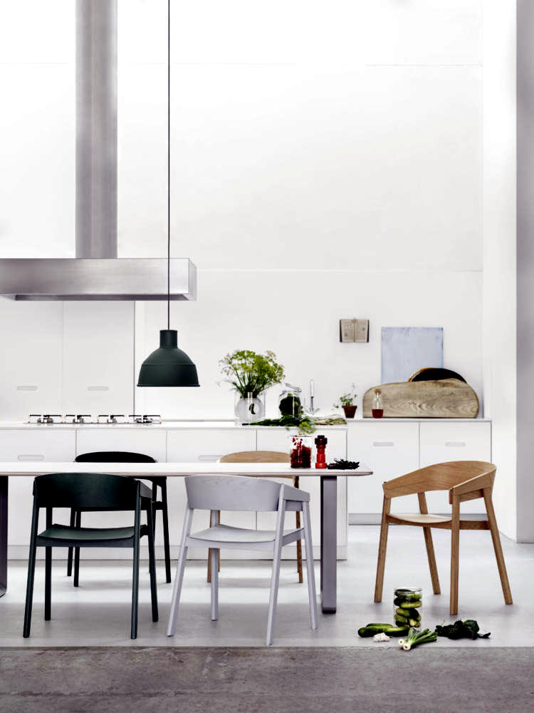 Chairs of different colors on white table | Interior Design Ideas ...