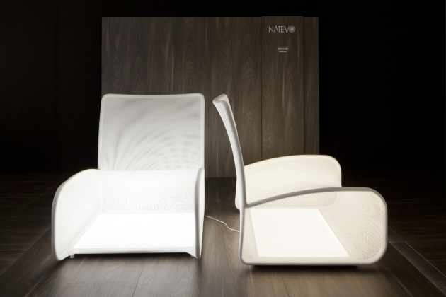 Chair modern design, equipped with light panels