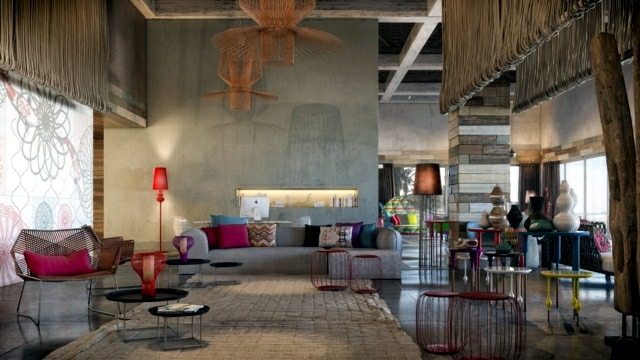 Furniture and accessories in bright colors - inside the spa at the W Hotel