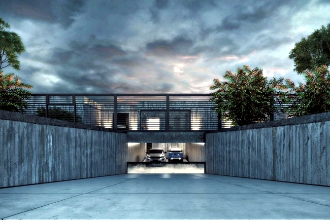 Modern house with a lot of exposed concrete - not so attractive, but very cool