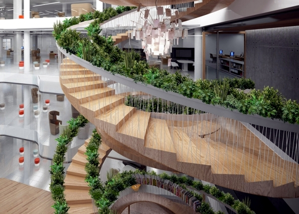 The plants adorn the staircase railing a spiral design in London