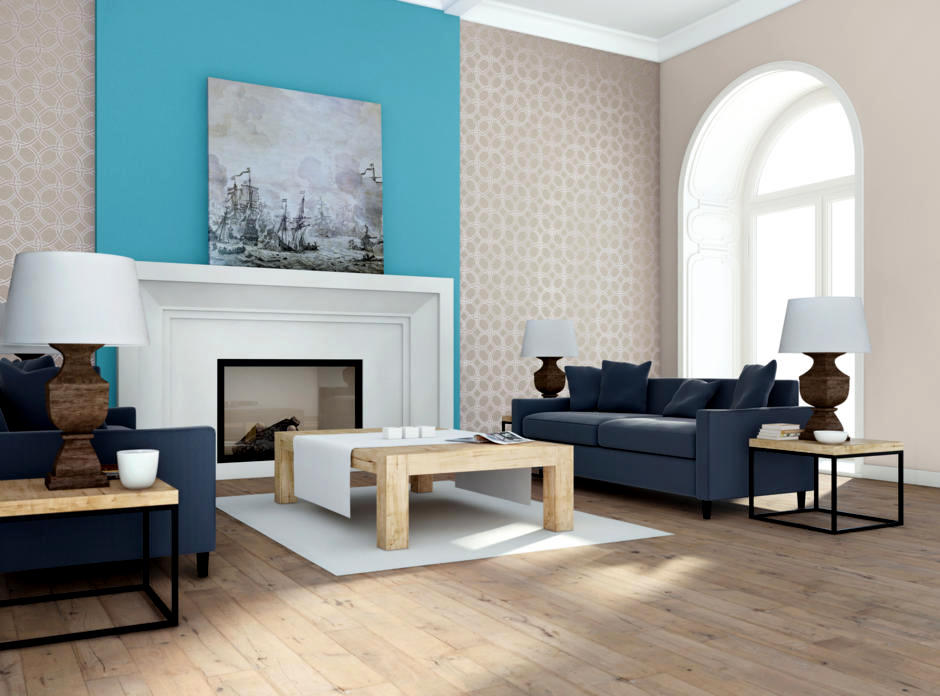 The Design Of Turquoise Walls Behind The Fireplace