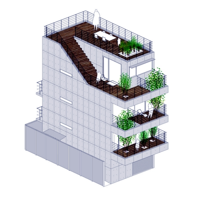 House with balcony - modern concept, implemented by Ryo Matsui in Tokyo