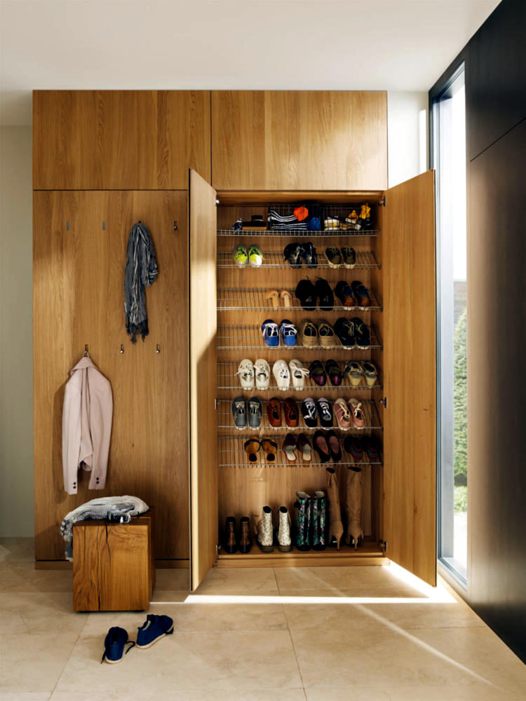 Wooden Wardrobe With Shoes Rack Integrated Interior