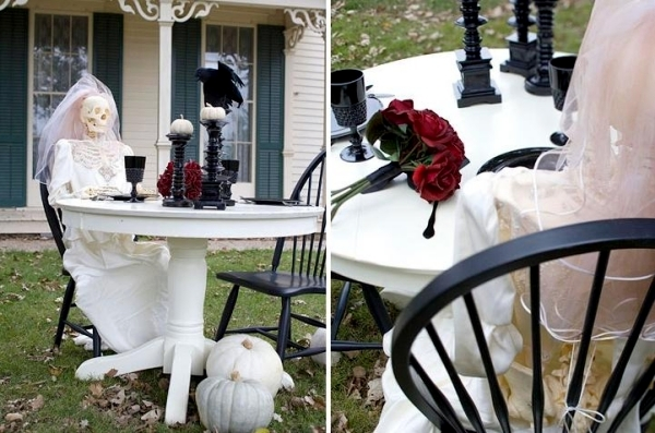 Outdoor halloween party decorations - Ideas Spooky Halloween Decoration Skeletons Garden