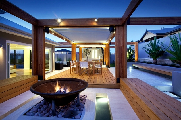 Contemporary Wooden Terrace - interesting creative ideas for outdoor furniture
