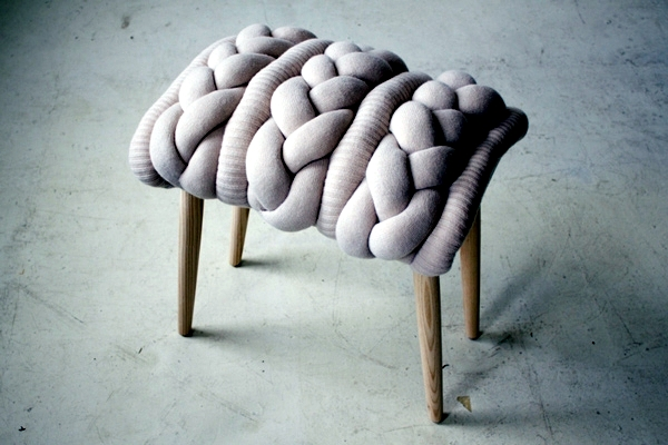 Wooden stools sexy knit blends tradition and modernity