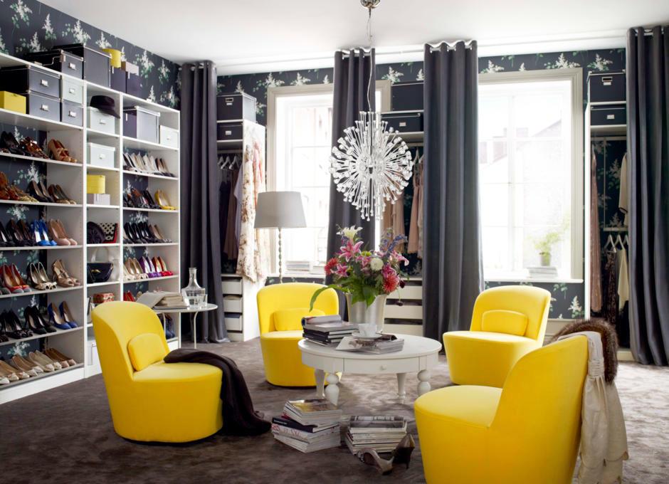 lemon yellow chair in the locker room interior design. Black Bedroom Furniture Sets. Home Design Ideas