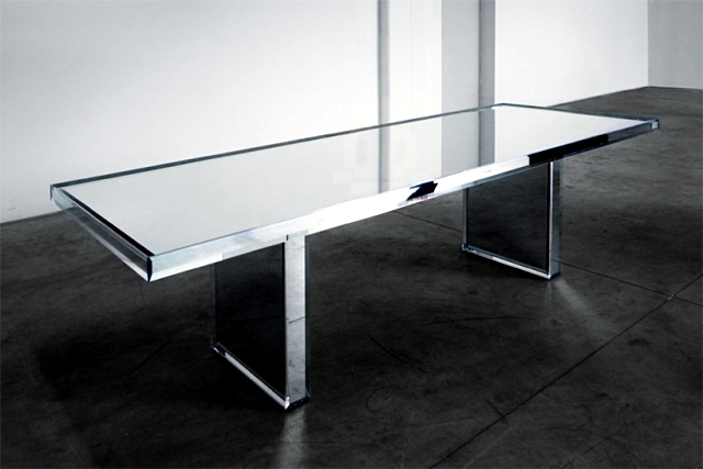 Prism Mirror Glass Table And Armchair Designed By Tokujin