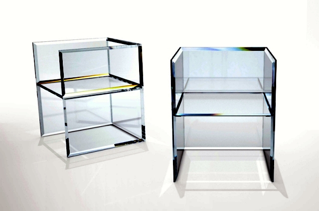 prism mirror glass table and armchair designed by Tokujin Yoshioka