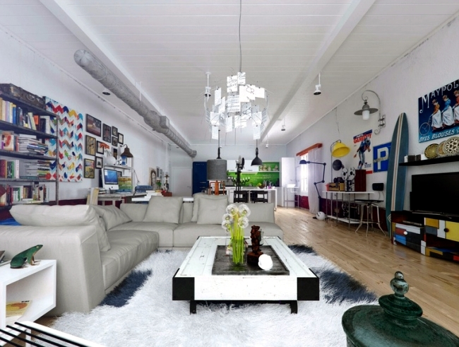 The vibrant colors of the interior cleverly used - 3D visualizations