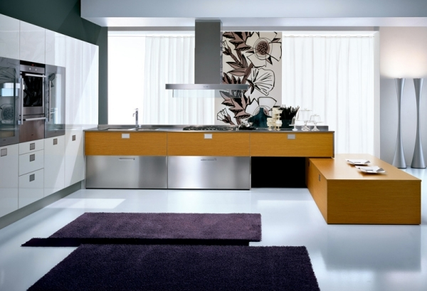 Italian kitchen with cooking island by Pedini in fashion design