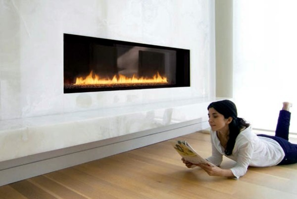 Contemporary fireplace design offers an attractive flame pattern ...