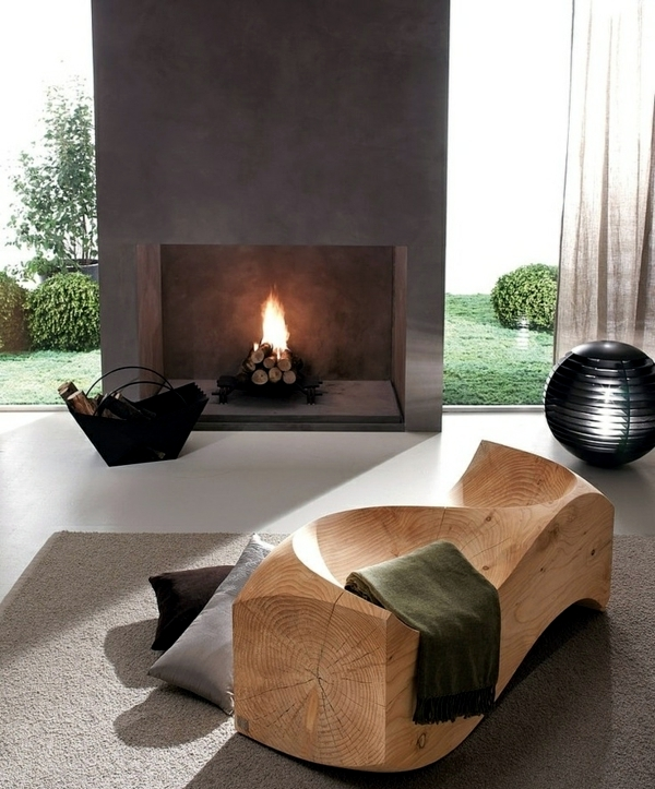 15 Attractive Modern Living Room Design Ideas: Contemporary Fireplace Design Offers An Attractive Flame