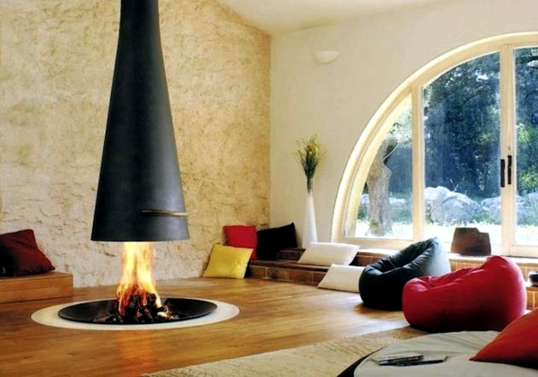 Contemporary fireplace design offers an attractive flame pattern