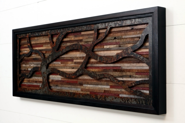 Recycled wood Contemporary wall art brings the outdoors inside