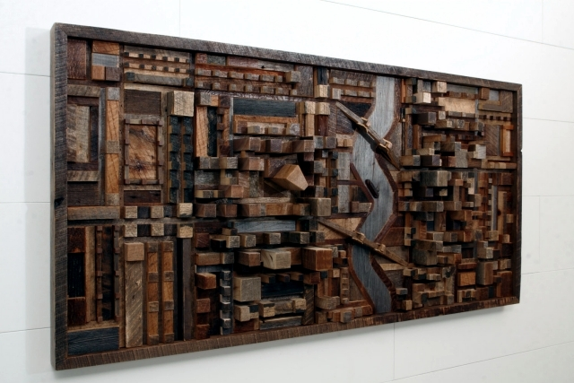 Recycled wood Contemporary wall art brings the outdoors inside ...