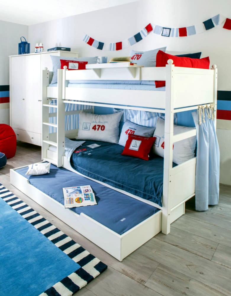 Bunk Bed White With Drawer For 3 People Interior Design