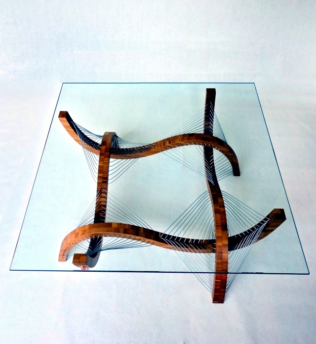 """Sculptural lamp and a coffee table """"Contour"""" by Robby Cuthbert wood"""