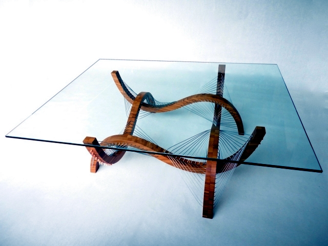 "Sculptural lamp and a coffee table ""Contour"" by Robby Cuthbert wood"