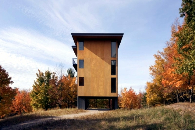 Architect wooden house - perfect concept of small plots