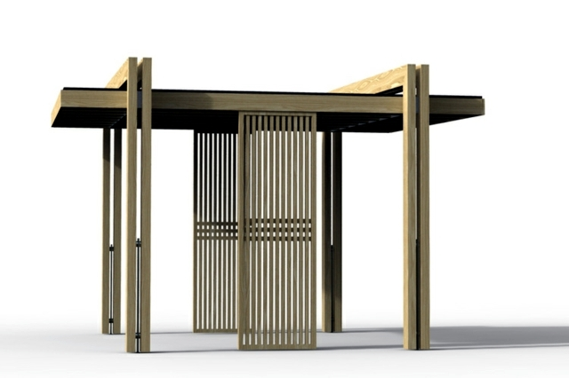 wooden furniture with architectural aspect of Mathias De Ferm