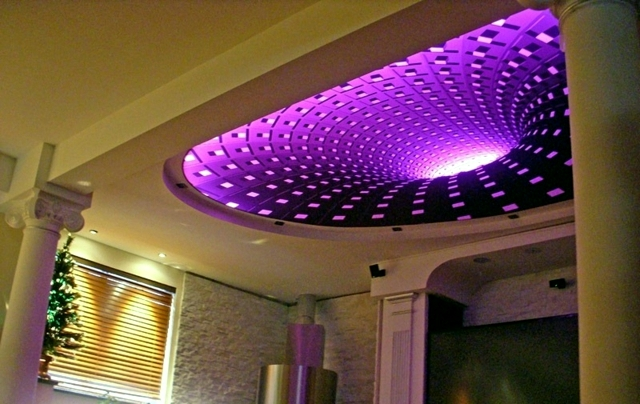 Indirect ceiling lighting offers comfort