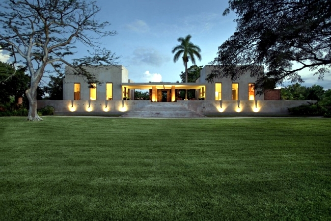 Modern colonial residence built with concrete walls ruins