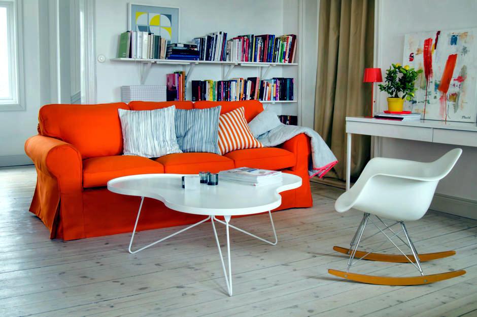 Orange Sofa In The Living Room Interior Design Ideas Ofdesign