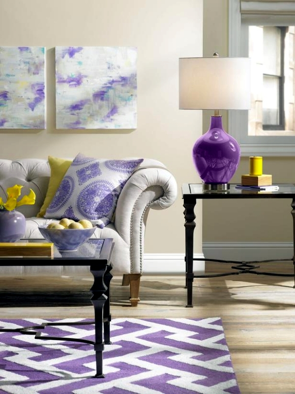 Violet Room Design: Living Room Design Trendy Purple Orchid