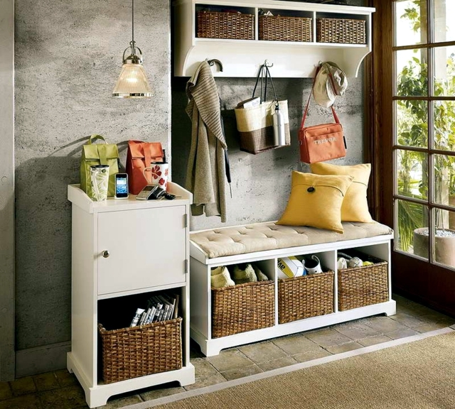 Foyer Furniture With Storage : Storage bench in the hallway ideas for space