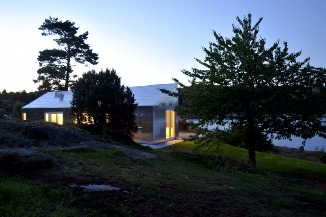 Dressed modern and comfortable cabin in Norway with aluminum