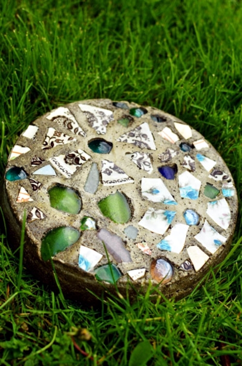 Mosaic decorative stepping stone handicraft dish itself Round wooden stepping stones