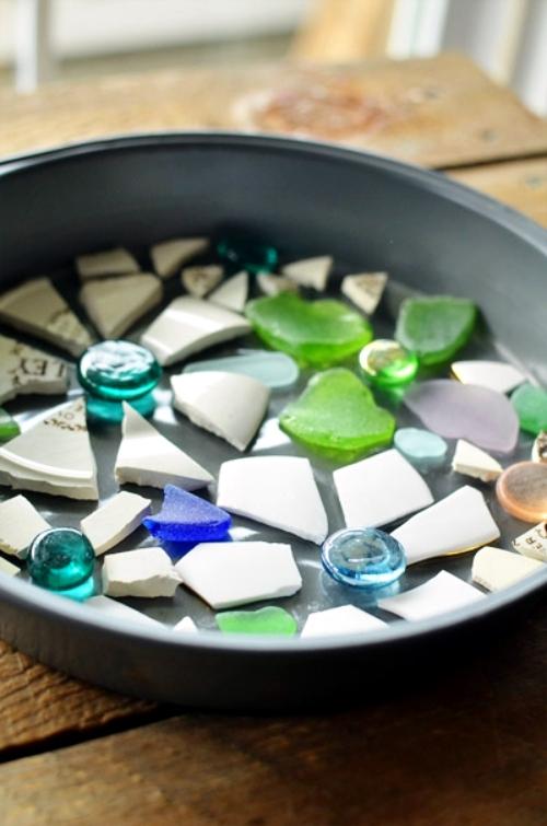 Mosaic decorative stepping stone handicraft dish itself