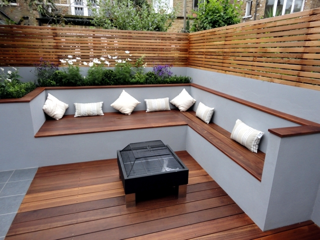 The modern wooden garden bench fits any garden situation ...