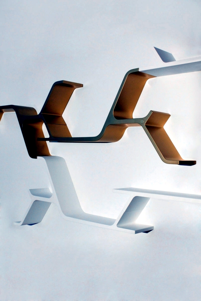 Wall shelf modular design offers an infinite variety of compositions