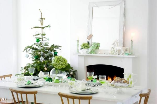 Christmas Decoration In White And Green The Color Scheme