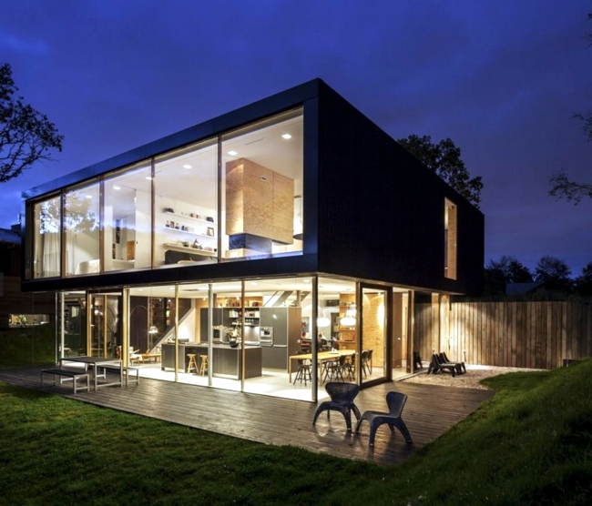 Building with glass fronts fits perfectly into the landscape