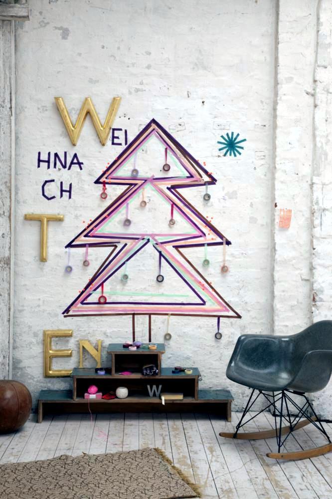 Christmas Tree Made Of Colored Tape Diy Interior Design