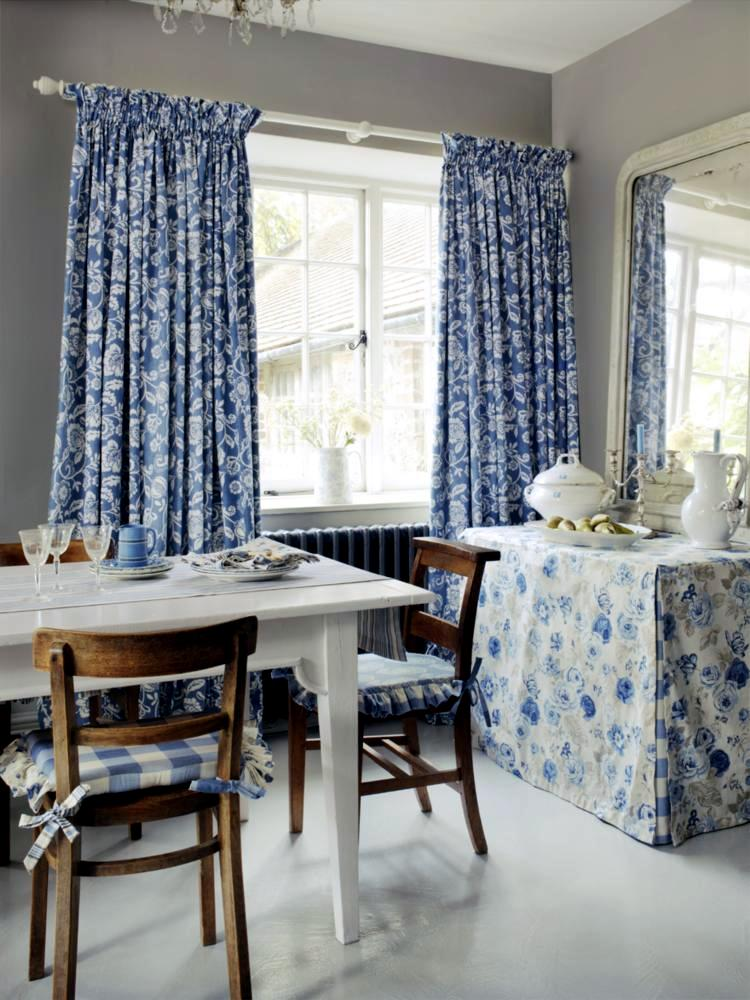 cozy dining room with accessories blue floral pattern
