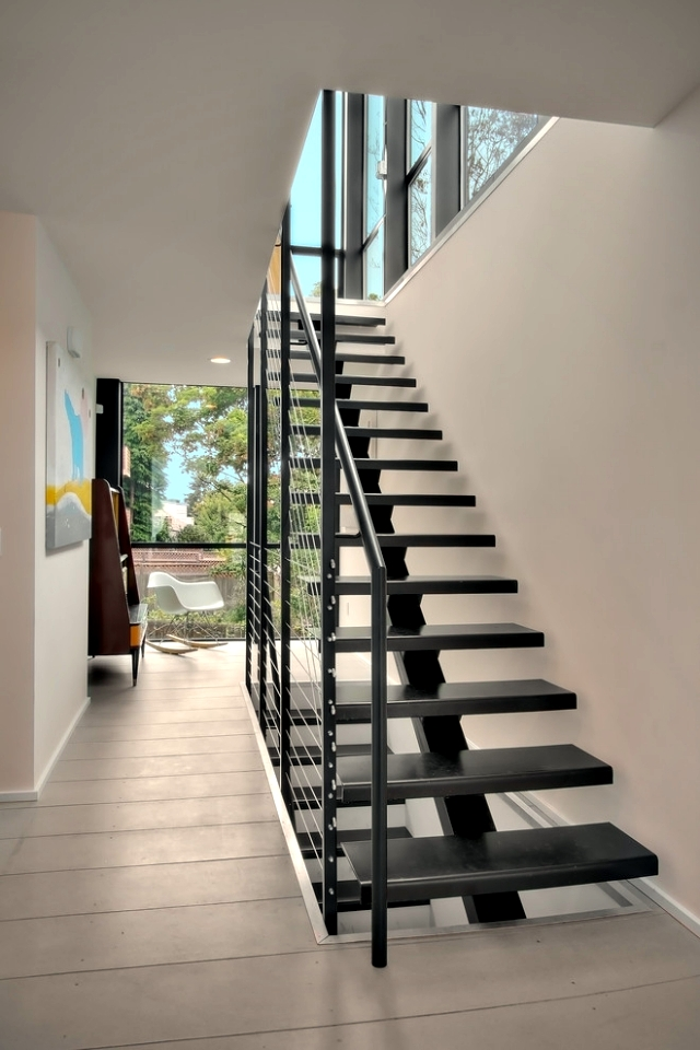 The Modern Steel Staircase Inside And Outside In
