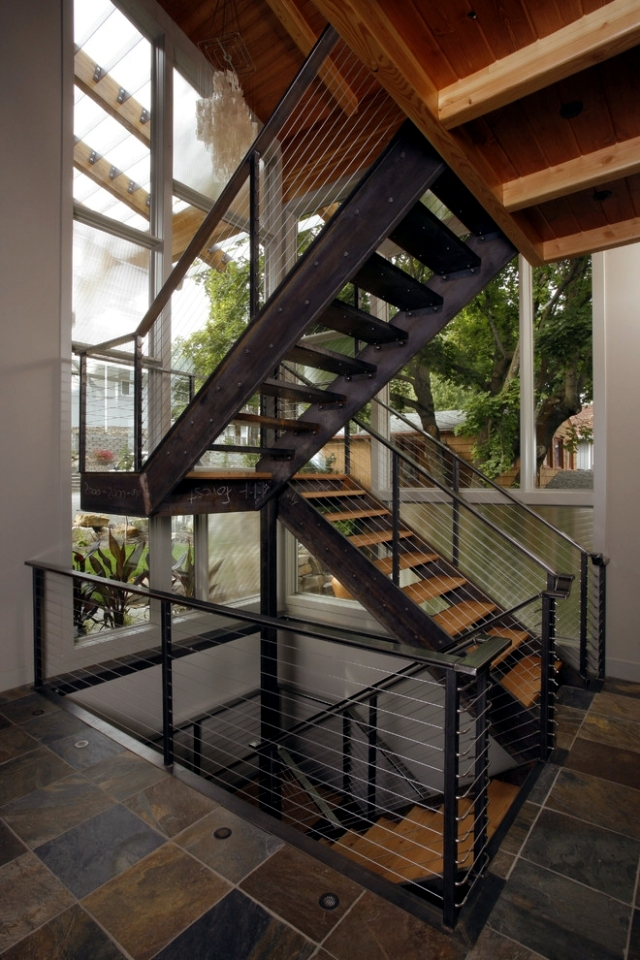 The modern steel staircase inside and outside in the amazing design interior design ideas - Ideal staircase ideas small interiors ...