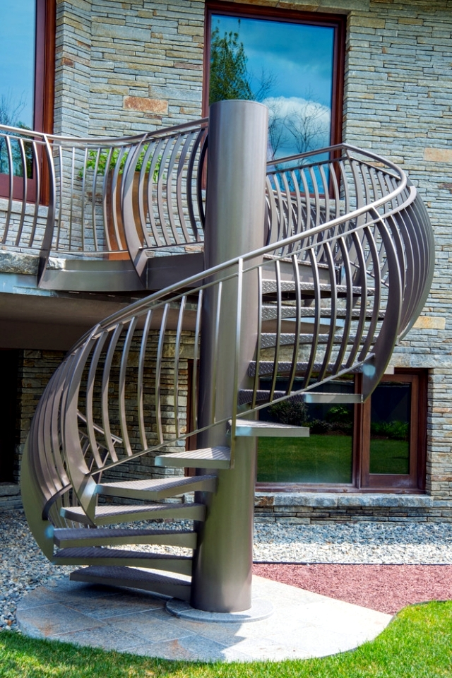 The modern steel staircase inside and outside for amazing - Exterior metal spiral staircase cost ...