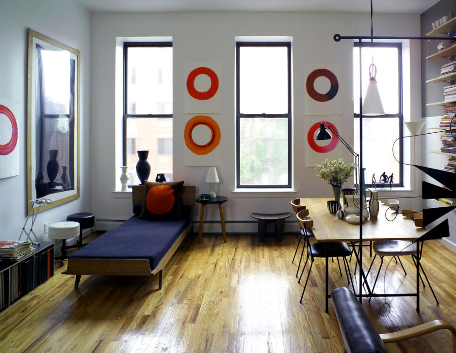 Open Living Room And Dining Room With A Retro Look