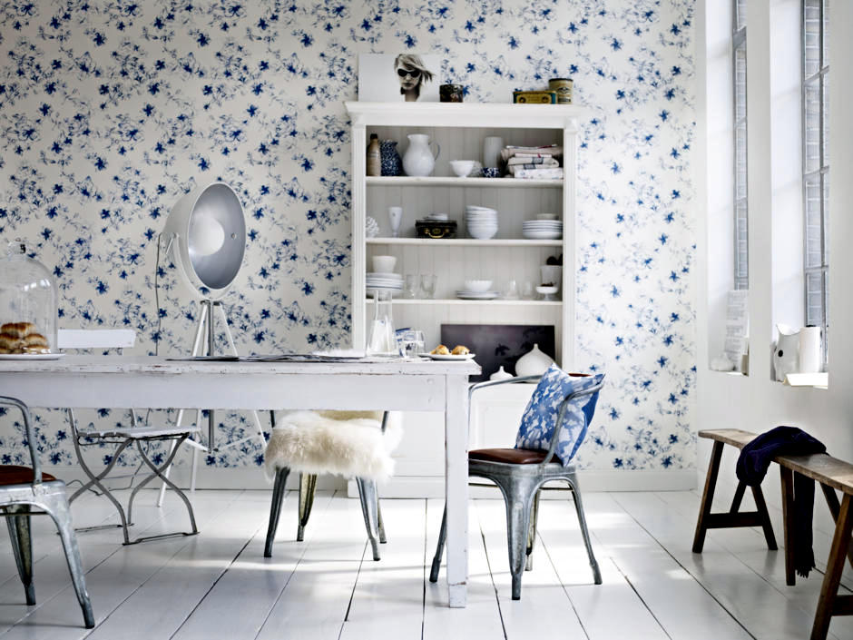 Model Wallpaper With Blue Flowers Interior Design Ideas Ofdesign Adorable Blue Interior Design Model